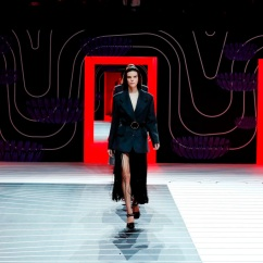 MILAN, ITALY – February 20: A model walks the runway during the Prada fashion show as part of Milan Fashion Week Fall/Winter 2020-2021 on February 20, 2020 in Milan, Italy. (Photo by Estrop/Getty Images)