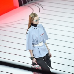 MILAN, ITALY - FEBRUARY 20: A model walks the runway during the Prada fashion show as part of Milan Fashion Week Fall/Winter 2020-2021 on February 20, 2020 in Milan, Italy. (Photo by Tullio M. Puglia/Getty Images)